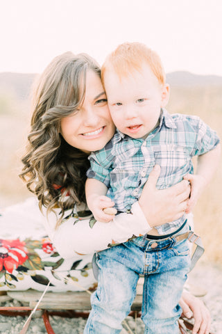 Katelyn Wooley of The Noble Paperie and her son