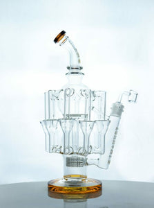 Tsunami 13″ Showerhead Eight Tube Recycler Water Pipe Rig - Amber