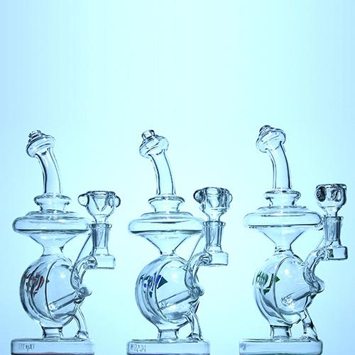 Diamond Glass - Orbit Recycler Style Water Pipe Bong - Gold