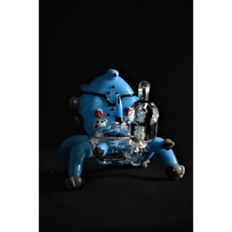 Empire Glassworks Worked War Mech Heady Blue Dab Rig