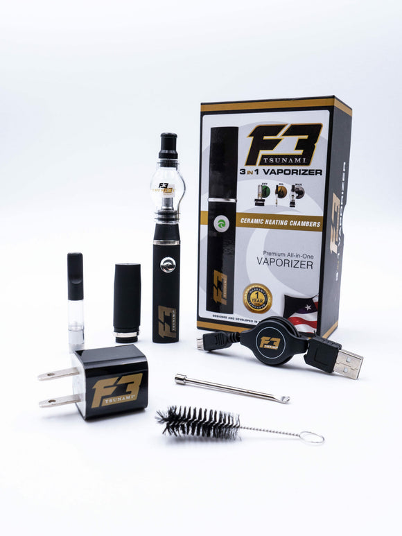 Tsunami F3 3-IN-1 Vaporizer Pen Kit - Black