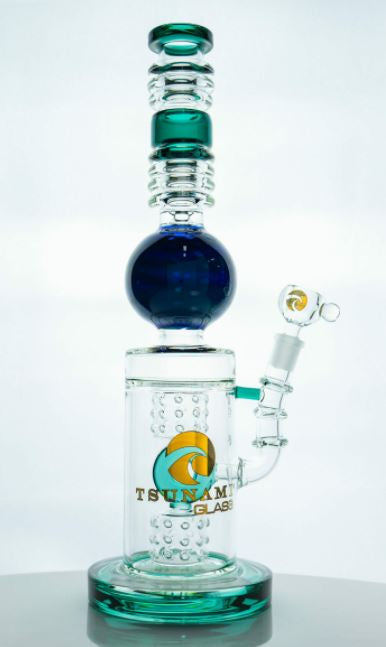 Tsunami 16″ Swiss Donut Glass Water Pipe Bong - Green