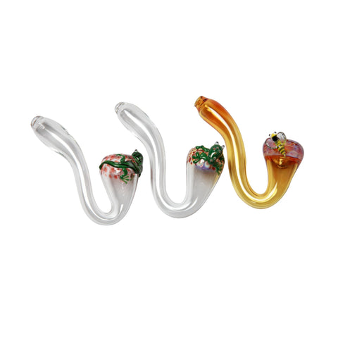 AMG Glass Amber Color Bumble Bee Sherlock Hand Pipe