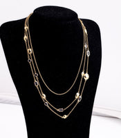 Gold 3 Chain Necklace