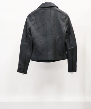 WOMEN'S DARK NAVY LEATHER JACKET (SIZE 40)