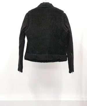 WOMEN'S BLACK SHEARLING SUEDE JACKET (SIZE 38)