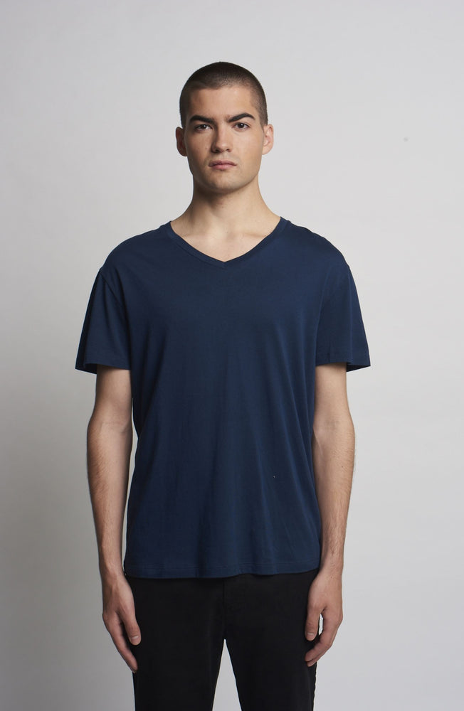 NAVY V NECK TEE SHIRT