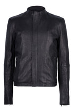 DISTRESSED LEATHER CENTRE FRONT JACKET