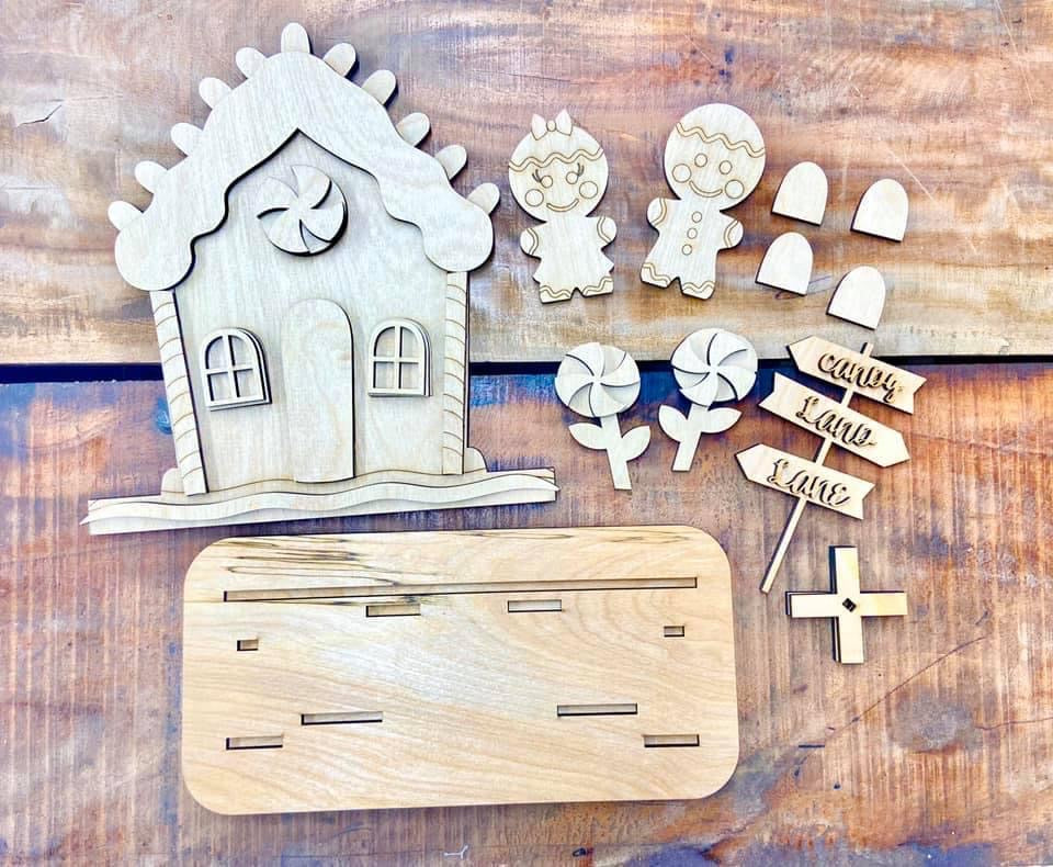 Take home kit Gingerbread house (Unpainted pieces only, no paint)