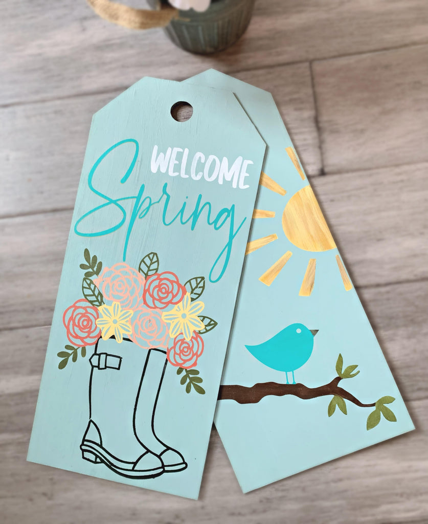 Spring Wood tag door hanger take home kit
