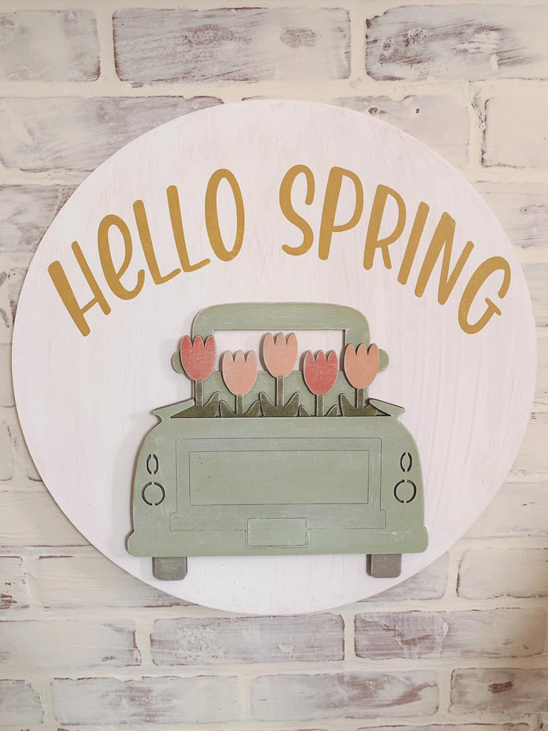 TAKE HOME KIT Spring 18 inch door hanger truck with tulips