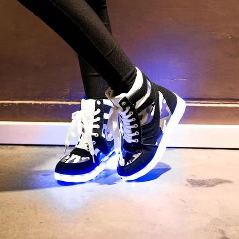 Camouflage high top LED lights couple shoes light shoes USB rechargeable fluorescent luminous lace up casual shoes ST2534