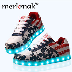 New 2017 Hot Sale Big Size 34-44 Glowing LED Light Shoes Men Lighting Up Fashion USA Flat Led Flats Adults Lumineuse Shoes