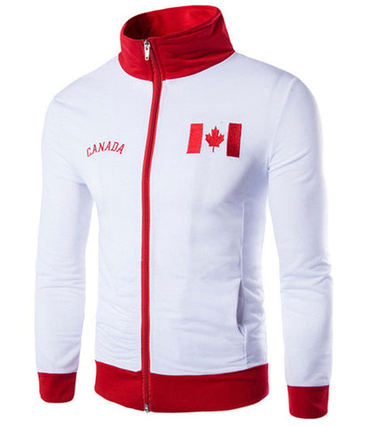 Men Jerseys Jackets Suit Embroidery Counties Flags Canada,England Jersey slim zipper Tracksuit Hoodie Zippers Roupas Man Outwear