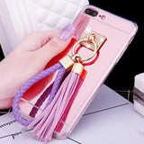 Luxury Tassel Rope Mirror Case For iphone 7 7 Plus Cover Top Quality Ultra Thin Plating TPU Protect Back Cover Shell Phone Bags