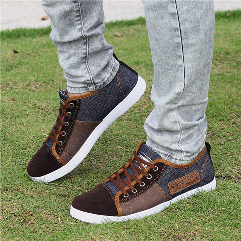 Fashion Denim Mens Shoes High Quality Canvas Shoes Men Lace Up Breathable Men Casual Shoes 2017 New Arrival