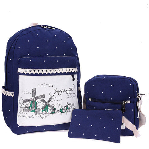 3pcs Women Canvas Backpack Casual  Dot Floral Printed Backpack Shoulder Bag Clutch Printing Backpack Set Schoolbag Back Pack