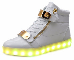 Akexiya 7 Colors Unisex Led Luminous Light Shoes Women Fashion USB rechargeable Light Led Shoes for Adult Black White 36-44