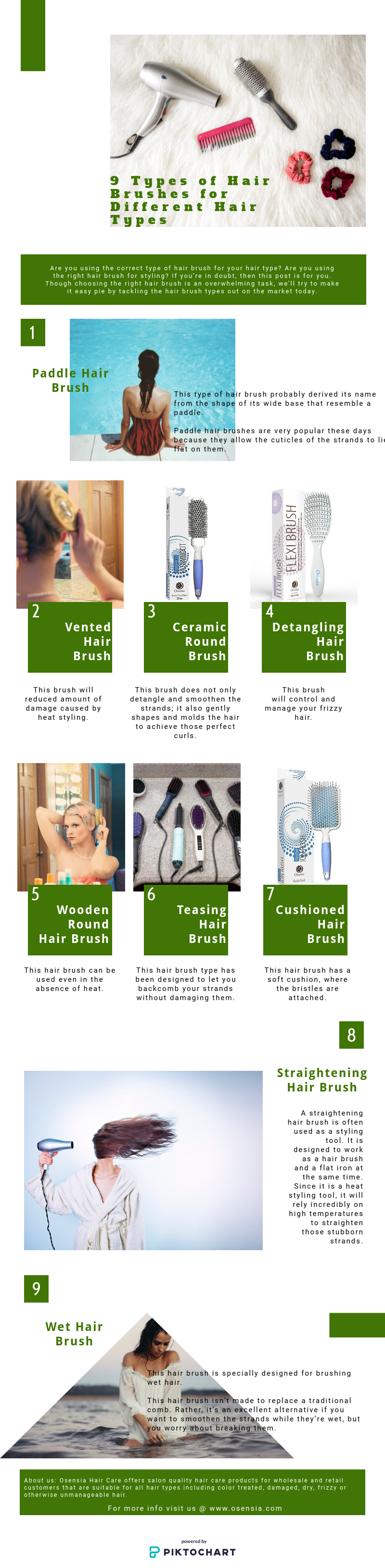 9 Types of Hair Brushes for Different Hair Types Infographics