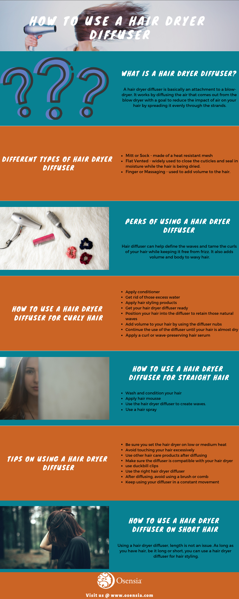 How Use Hair Dryer Diffuser Infographics
