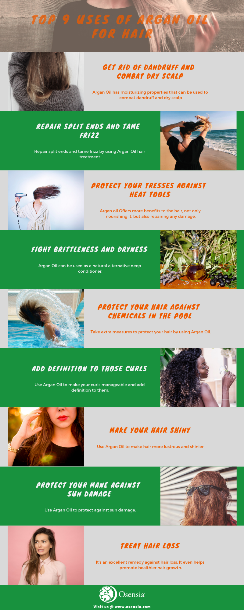 Top Uses Argan Oil for Hair Infographics