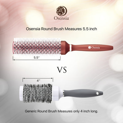 Long Ionic Ceramic Round Brush for Blow Drying - (1.7 Inch/ 43mm)