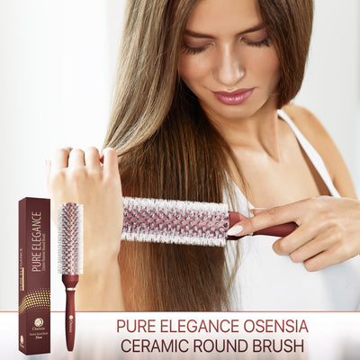 Long Ionic Ceramic Round Brush for Blow Drying - (1.3 Inch/ 33mm)