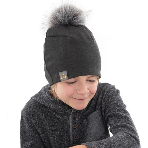 Tuque à pompon interchangeable Lox Lion - 3 Saisons - Gris