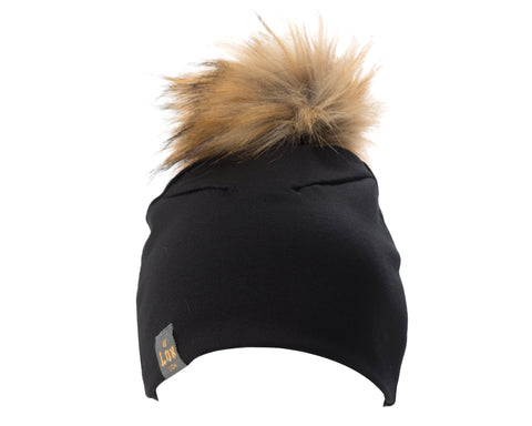 Tuque à pompon interchangeable Lox Lion - 3 Saisons - Noir