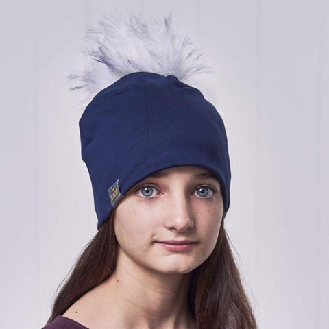 Tuque à pompon interchangeable Lox Lion - 3 Saisons - Marine