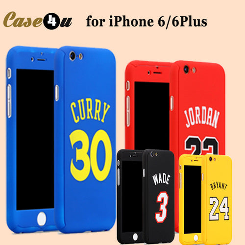 Full Body Case Cover iPhone 7 plus 6 6s plus 360 Case Basketball + Temper Glass