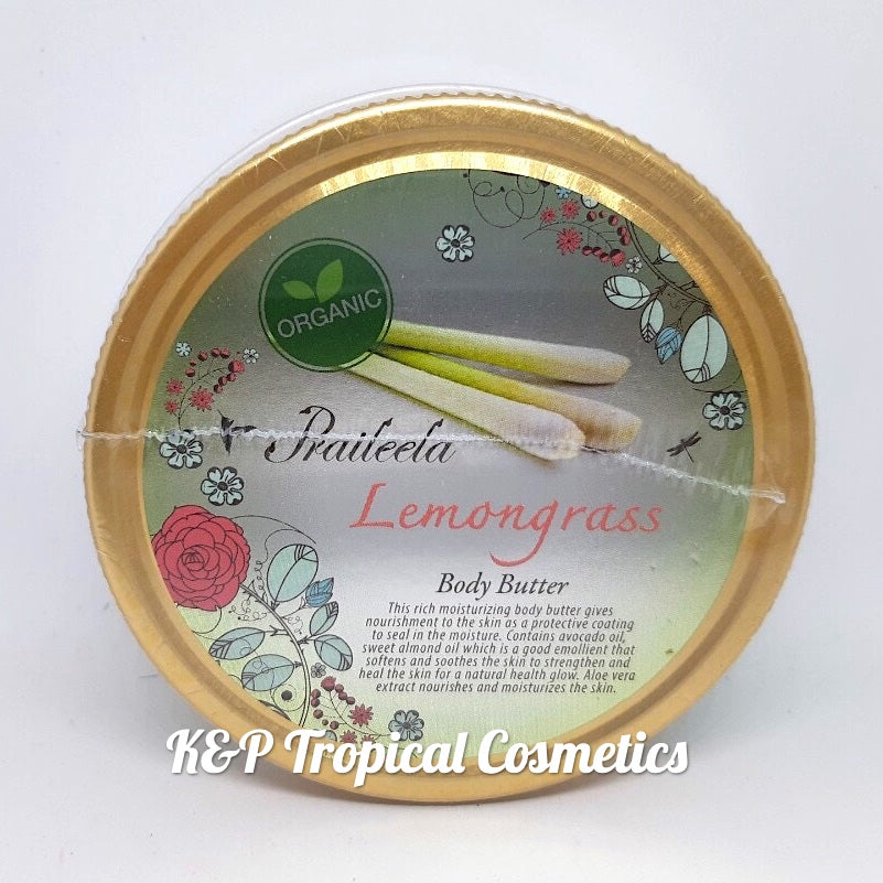 Praileela Lemongrass Body Butter 250 ml, Органический баттер для тела Лемонграсс 250 мл