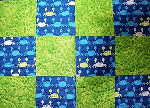 Blue Crab Cot Quilt by The Gourmet Quilter