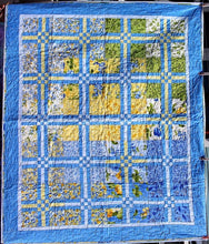 Blue & Yellow Floral Quilt by Lesley Crestani