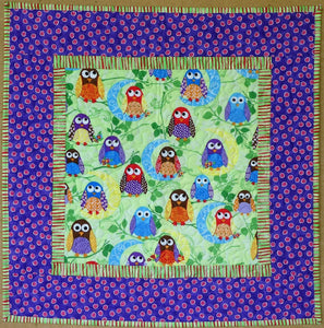 Pretty Owls Cot Quilt by The Gourmet Quilter