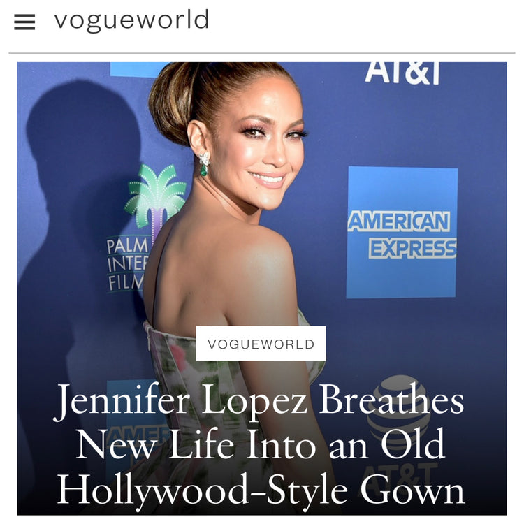 Vogue features Jennifer Lopez carring our signature Lee Pouchet to the Palm Springs International Film Festival