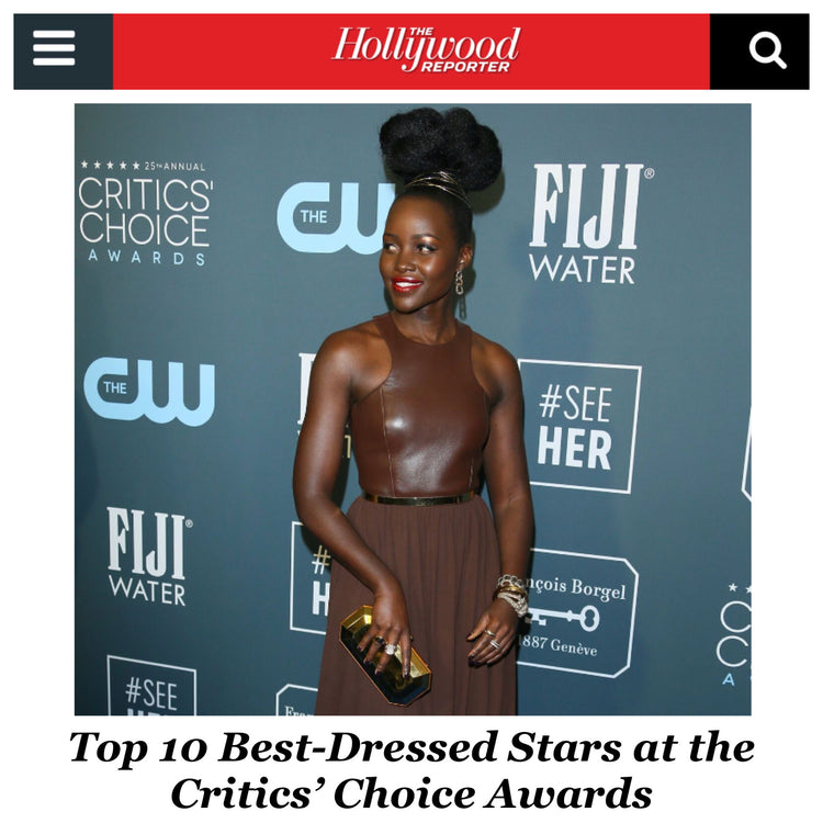 Lupita Nyong'o is named best dressed at the 2020 Critics' Choice Awards carrying our Perry Clutch!
