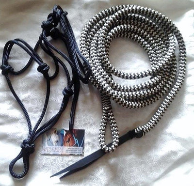 2 Noseband Knot 6mm Rope Halter & 14ft Lead 12mm with Loop (no snap)- Made in Australia