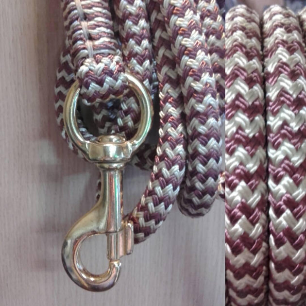 2 Noseband Knot 6mm Rope Halter & 12ft Lead 12mm with Heavy Round Eye Trigger Brass Snap