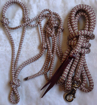8mm Rope Halter w 14ft Lead in 14mm Rope w Brass Trigger Bull Snap