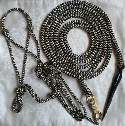 2 Noseband Knot 6mm  Rope Halter & 10ft Lead 12mm with Brass Swivel Snap- Made in Australia