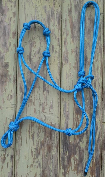 Rope Halter 4 noseband knots  - 6mm - Made in Australia - Choice of Size/Colour