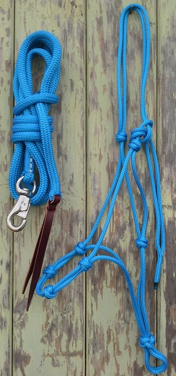 4 Noseband Knot 6mm Rope Halter & 14ft Lead 12mm with Bull Snap Made in Australia