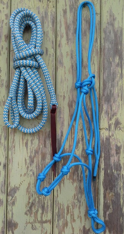 4 Noseband Knot 6mm Rope Halter & 14ft Lead 12mm with Loop Made in Australia