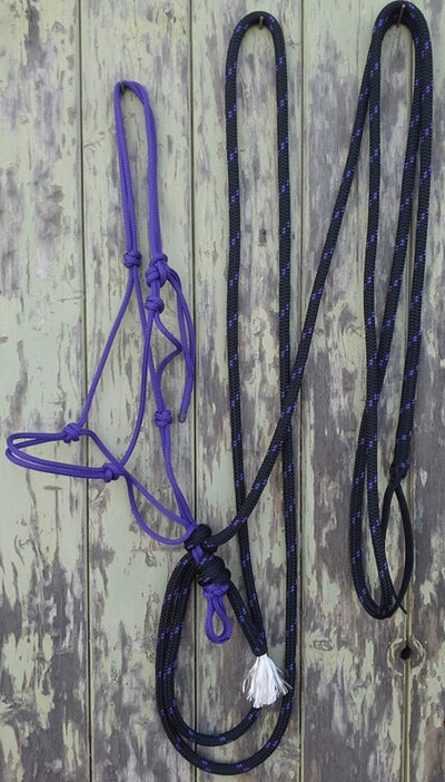 Rope Hackamore with Horseman Reins, made Tuff Tack Rope