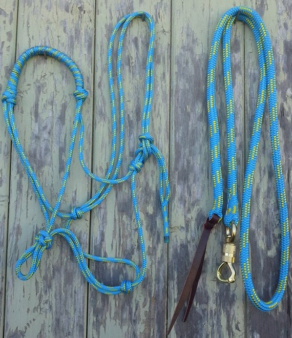 Rolled Noseband Rope Halter w 10ft Lead 12mm with Brass Swivel Snap