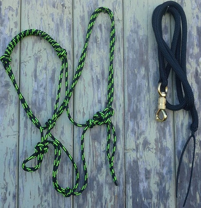 Rolled Noseband Rope Halter w 8ft Lead 12mm with Brass Swivel Snap