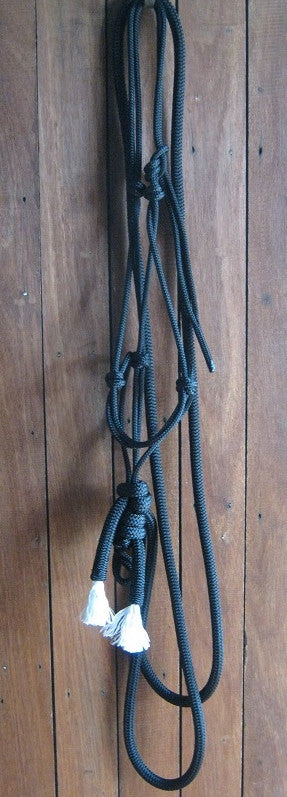 Rope Hackamore with Sports Reins, made with Tuff Tack Rope