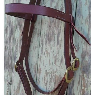 Plain Working Bridle Headstall - Brass Fittings
