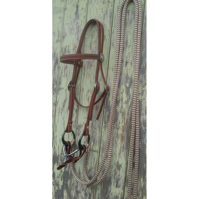 Western Concho Bridle Set w Split Reins w Loop Ends